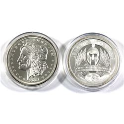 Pair of 1oz fine silver rounds. Lot includes: 2017 Morgue Ann Zombucks and TSP Long Live The Republi