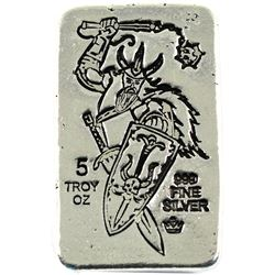 5oz fine silver Monarch bar featuring a Viking with  Shield & Weapon. Old pour style. (tax exempt)