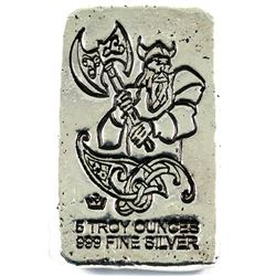 5oz fine silver Monarch bar featuring a Viking with Battleaxes. Old pour style. (tax exempt)