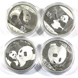 Set of 4x 30 gram  10 Yuan fine silver proof China Pandas. Lot includes: 2016, 2017, 2018 & 2019. Co