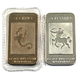 Pair of 1oz National .999 Fine Silver Art Bars - Scorpio & Sagittarius. 2pcs (TAX Exempt)