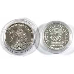 Pair of 1oz fine Silver rounds. Lot includes: 1992 Toronto Blue jays Limited edition World Champions