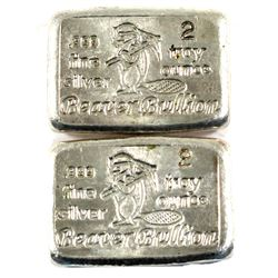 2oz Beaver Bullion Hand Poured .999 Fine Silver Bars. 2pcs (TAX Exempt)