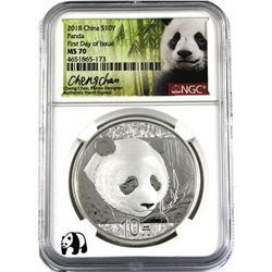 2018 China 30g .999 Fine Silver Panda First Day of Issue NGC Certified MS-70 Signed by Cheng Chao, t