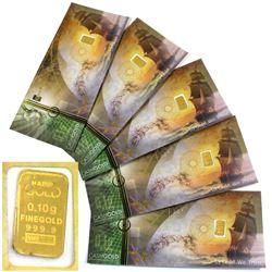 Karat bars 1/10 Gram .9999 Fine Gold Pieces in Certificate Sleeves. 5pcs (TAX Exempt)