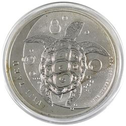 2013 Fiji $10 5oz .999 Fine Silver Taku Turtle in Capsule (Coin lightly toned, capsule scratched). T