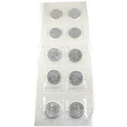 2003 Canada 1oz .9999 Fine Silver Maple Leafs in Original Sealed Mint Plastic Sheet. 10pcs (TAX Exem
