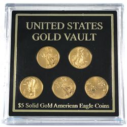 United States Gold Vault Featuring 5x 2007 1/10oz Fine Gold Eagles in Hard Plastic Holder. (TAX Exem