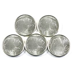 Liberty Indian Head Buffalo 1/4oz .999 Fine Silver Rounds. 5pcs (TAX Exempt)