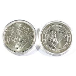 Pair of 1oz fine Silver rounds. Lot includes: Heroes D-Day 70th Anniversary round, and a Lover your