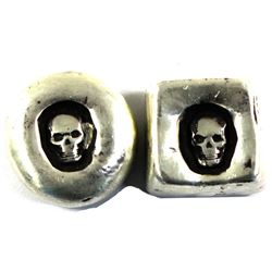 Pair of 1oz Fine Silver Skull Ingots. Made by MK Bars lot includes a Square shapes and round shape w