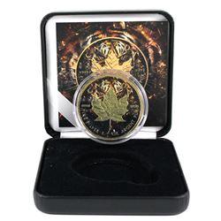 2018 Canada 1oz Coloured & Gilded Tiger Design .9999 Fine Silver Maple in Smitty's Treasures Black D