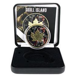 2018 Canada 1oz Coloured & Gilded Skull Island Design .9999 Fine Silver Maple in Smitty's Treasures