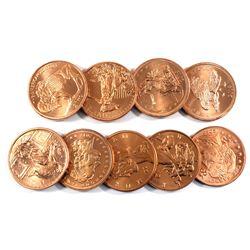 9x Zombucks 1oz .999 Fine Copper Rounds All Different Designs - Starving, The American Zombuff,