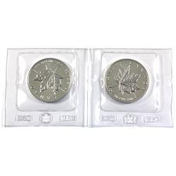 Pair of 1oz 1989 Silver Maple leaf's still sealed in Original Mint Pliofilm. 2pc (Tax exempt)