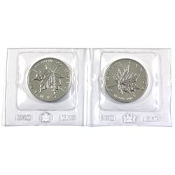 Pair of 1oz 1989 Silver Maple leaf's still sealed in Original Mint Pliofilm. 2pc (Tax exempt)