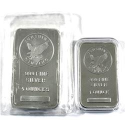 1oz & 5oz Sunshine Mint .999 Fine Silver Bars. 2pcs (TAX Exempt)