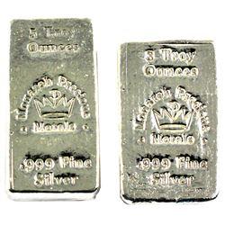 3oz & 5oz Monarch Precious Metals .999 Fine Silver Old Poured Bars. 2pcs (TAX Exempt)