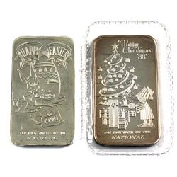 National 1oz .999 Fine Silver Art Bars - 1988 Merry Christmas & 1990 Happy Easter. 2pcs (TAX Exempt)