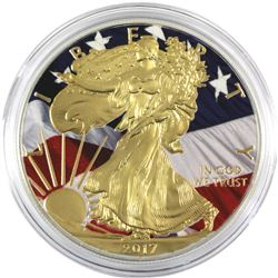 2017 USA 1oz Coloured American Flag .999 Fine Silver Eagle in Capsule. (TAX Exempt)