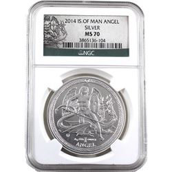 2014 Isle of Man 1oz Angel .999 Fine Silver NGC Certified MS-70. (TAX Exempt)