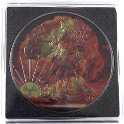2016 USA 1oz Coloured & Ruthenium Plated Nuclear Blast .999 Fine Silver Eagle in Capsule. (TAX Exemp