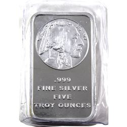 5oz Indian Head Liberty .999 Fine Silver Bar in Plastic. (TAX Exempt)