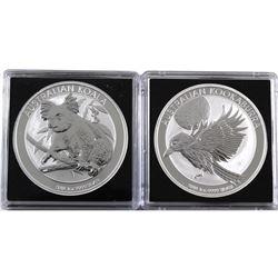 2018 Australia 1oz .9999 Fine Silver Kookaburra & Koala Coins in Capsules. 2pcs (TAX Exempt)