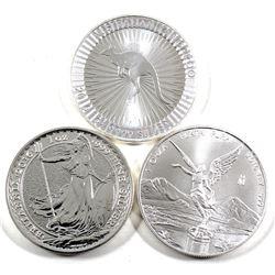 Lot of 3x 2016 1oz Fine Silver Coins - Australian Kangaroo, Great Britain Britannia & Mexico Liberta