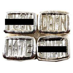 Beaver Bullion 1oz .999 Fine Silver Poured Bars - Damn, F**k, Sh*t & Hate (Some bars toned). 4pcs (T