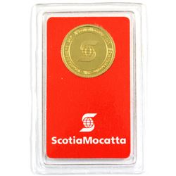 Valcambi Suisse 5g ScotiaMocatta .9999 Fine Gold Coin in Certificate and Plastic Holder. (TAX Exempt