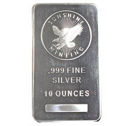 10oz Sunshine Mint .999 Fine Silver Bar. (TAX Exempt)
