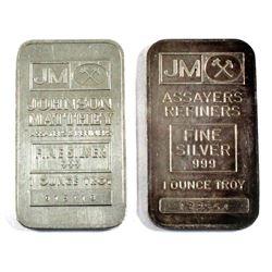 1oz Johnson Matthey Regular & Blank Back .999 Fine Silver Bars. 2pcs (TAX Exempt)