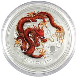 2012 Australia 5oz Coloured Year of the Dragon .999 Fine Silver Coin (Capsule scratched). TAX Exempt