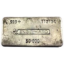 VINTAGE 50oz Engelhard Old Hand Poured .999 Fine Silver Bar. (TAX Exempt)