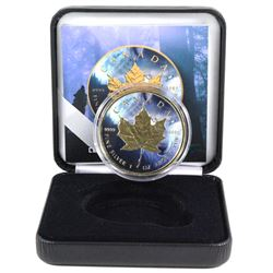 2018 Canada 1oz Wolf Coloured & Gilded .9999 Fine Silver Maple Leaf in Smitty's Treasures Black Disp