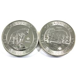2016 Canada 1.25oz Bison & 2017 1.5oz Grizzly Bear .9999 Fine Silver Coins (Lightly toned & 2017 is