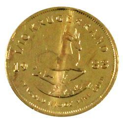 1983 South Africa 1/10oz Fine Gold Krugerrand (Toned). TAX Exempt