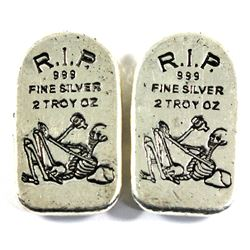 Monarch Precious Metals 2oz Skeleton R.I.P. Tombstone .999 Fine Silver with Limited Mintage of 999!