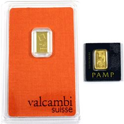 Valcambi Suisse & Pamp Suisse 1g .9999 Fine Gold Bars in Certificates and Plastic Holders. 2pcs (TAX