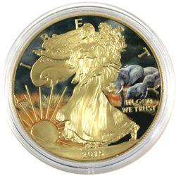 2015 USA 1oz African Plains Elephant Coloured & Gilded .999 Fine Silver Eagle in Capsule. (TAX Exemp