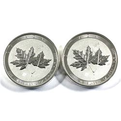 2019 Canada 2oz Twin Maples .9999 Fine Silver Coins. 2pcs (TAX Exempt)