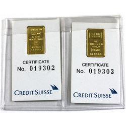 Credit Suisse 2g .9999 Fine Gold Bars in Certificates. 2pcs (TAX Exempt)