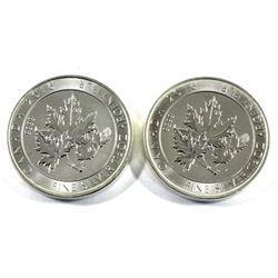 2016 Canada 1.5oz Super leaf .9999 Fine Silver Coins (Toned). 2pcs (TAX Exempt)