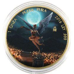 2016 Mexico 1oz Coloured & Gilded .999 Fine Silver Libertad in Capsule. (TAX Exempt)