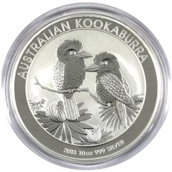 2013 Australia 10oz .999 Fine Silver Kookaburra (Capsule lightly scuffed). TAX Exempt