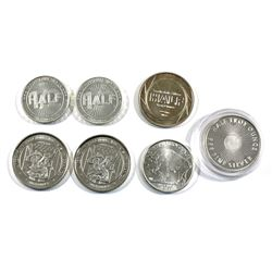 Lot of 1/2oz .999 Fine Silver Rounds. You will receive 7 rounds with 5 different designs (Toned). 7p