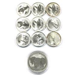 Lot of Australia 50-cent 1/2oz  .999 Fine Silver Coins - 2x 2013 War in the Pacific, 2x 2014 Houston