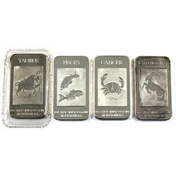 National 1oz .999 Fine Silver Bars Zodiac Signs Design - Cancer, Capricorn, Taurus & Pisces (Toned,