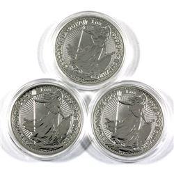 2017, 2019 & 2020 Great Britain 1oz .999 Fine Silver Britannia's. 3pcs (TAX Exempt)